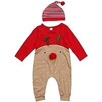 LUOEM Bebé recién Nacido Niños Chicas Navidad Manga Larga Lindo Nariz Roja Dibujos Animados Reno Pijama Mono Raya Sombrero Conjunto de Traje Adecuado para 18-24 Meses (100 cm)