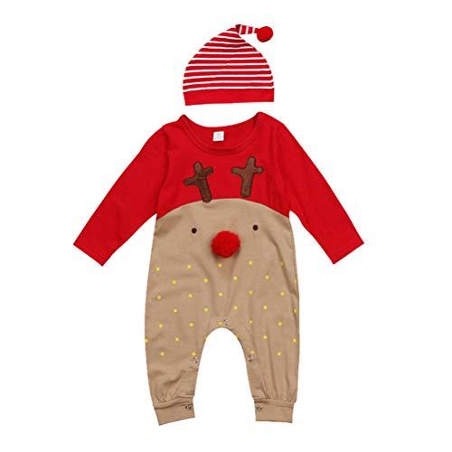 LUOEM Bebé recién Nacido Niños Chicas Navidad Manga Larga Lindo Nariz Roja Dibujos Animados Reno Pijama Mono Raya Sombrero Conjunto de Traje Adecuado para 12-18 Meses (90 cm)