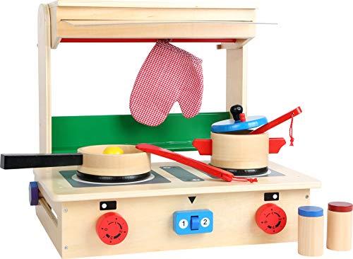 """small foot 4732 Kinder-Küche \""""Profi\"""" im Koffer aus Holz, mit Herd, Pfanne, Topf, Küchenhelfern und Streuern, ab 3 Jahren"""