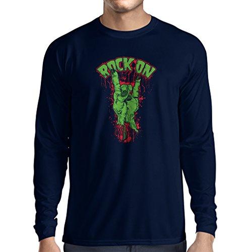 Langarm Herren t shirts Metall-Symbol der Zombie-Hand! Zeichen der Hörner Blau Mehrfarben