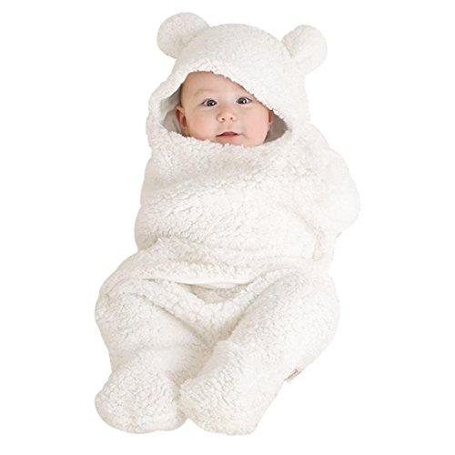 0-1 Jahre Kleinkind Kind Hoodie Lamm Decken, DoraMe Neugeborenes Baby Mädchen Jungen Schlafen Wrap Decke Fotografie Prop Unisex Kapzen Schlafsack (Weiß, 55cm*29cm) (Baby-taufe-kleidung)