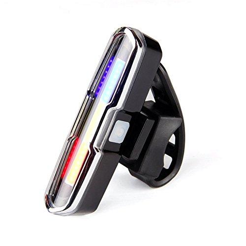 USB aufladbaren Vorderseite Rückseite Fahrrad Licht Lithium Batterie LED Rücklicht Fahrrad Helm Lampe Berg Fahrrad Zubehör, Rot, Weiß und Blau (Licht-lampen Rückseite Led Blaue)