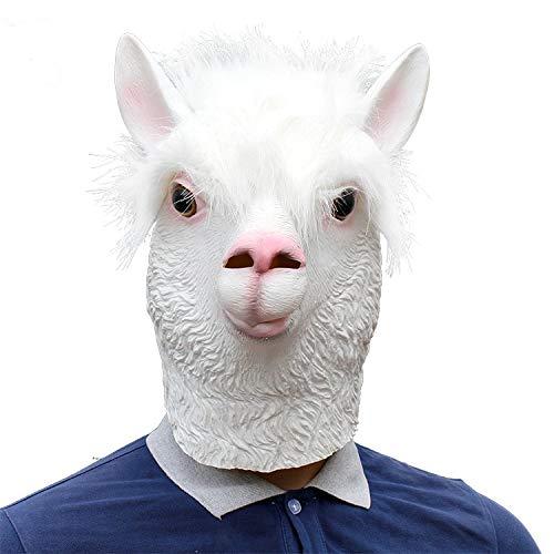 Gesicht Kostüm Schaf - Alpaka Latex Tier Kopf Maske Neuheit Halloween Kostüm Tier Alpaka Maske Erwachsene Voller Gesicht Latex Maske Schafe Kopf Cosplay