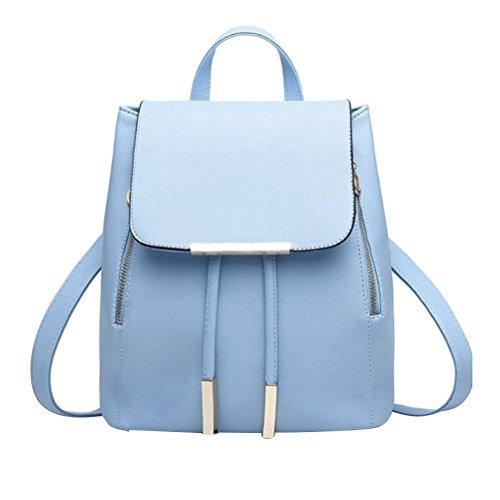 Tinksky Sacchetto di spalla borsa di cuoio di cuoio delle donne delle ragazze zaino borsa di viaggio regalo di compleanno di Natale per le ragazze delle donne (azzurro)