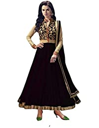 Great Indian Sale Offers INFOTECH FAB Women's Turquoise & Beige Color Banglori Silk & Net Fabric Anarkali Salwar...