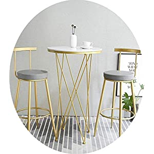 STOOL Bar, Café, Restaurant Stuhl, 3-Teilige Esszimmerstühle Set Barhocker Tische Barhocker Frühstück Küchentheke Pub Café Mit Fußstütze Amp; Rücken Nordic Modern Sitzhöhe 76Cm