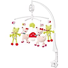 Fehn 076714 Musik Mobile Sweetheart - Spieluhr-Mobile mit Rehkitz & Frosch aus dem Märchenwald zum Lauschen & Staunen / Zum Befestigen am Bett für Babys von 0-5 Monaten / Höhe: 65 cm, ø 40 cm