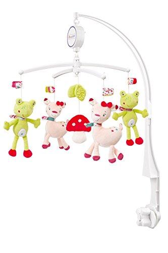 Fehn 076714 Musik Mobile Sweetheart - Spieluhr-Mobile mit Rehkitz & Frosch aus dem Märchenwald zum Lauschen & Staunen/Zum Befestigen am Bett für Babys von 0-5 Monaten/Höhe: 65 cm, ø 40 cm