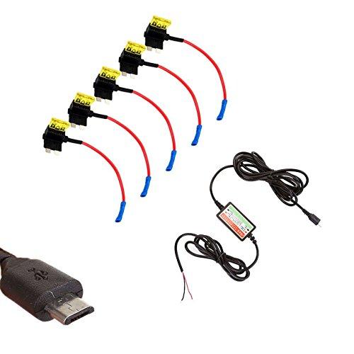 USB Autokamera dash cam Energieversorgung DC 12 / 24V zu 5V 2.1A Revolution + Sicherungshalter stromdieb sicherungsadapter flachsicherungsadapter ()