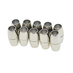 10 PCS Magnetverschluss Schmuck Halskette Armband Verschlüsse Schließe Haken für Halsketten, Armbänder – Silber, 4 mm