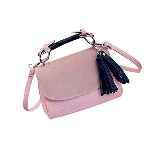 Borsa a tracolla Clode® Donne Della Signora Bow Borse Moda Shoulder Bag Messenger Bag Tide (Colour : Rosa)