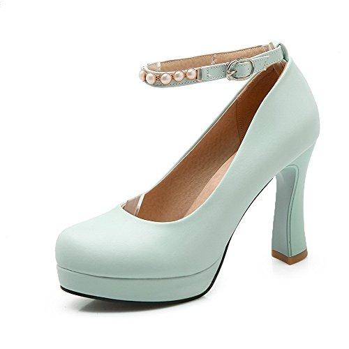 VogueZone009 Femme Pu Cuir à Talon Haut Rond Couleur Unie Boucle Chaussures Légeres Bleu