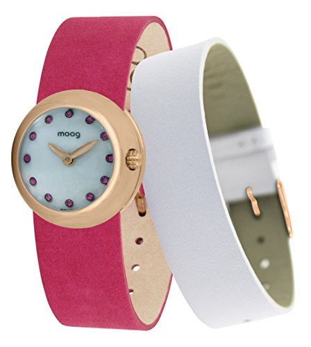 Moog Paris Zoom Women's Watch with White Dial, Pink Adjustable Nubuck lace Strap & Swarovski Elements - M45382-407