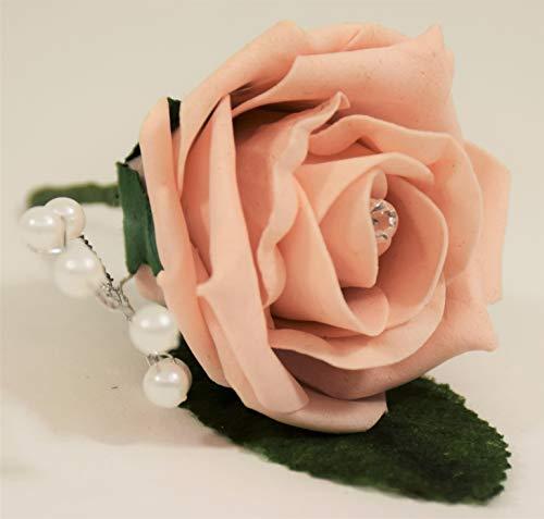 Rose mit Perlenspray für Hochzeit, Party, Empfang, Abschlussball, Gartenparty, Blumenstrauß, Vintage, Gothic, Sommerartikel, Vintage Peach, 1 -