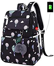 WSJTT School Bags for Girls Female Laptop Backpack Usb Backbag Children Backpacks Cute Cat School Backpack for