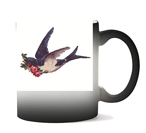 MugWorld Bird Roses Tasse Chaleur Changement De Couleur