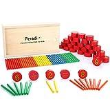 Peradix Jeux Calcul Mathématiques en Bois Maths Bâton de calcul numérique Jouet Montessori matériel(67PCS)