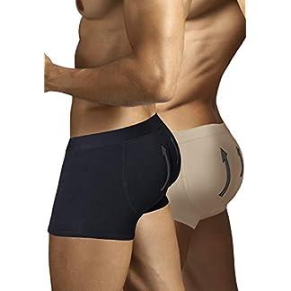 ARIUS Pack 2 Calzoncillos Boxer con Relleno Trasero para Aumentar el Volumen y tamaño de glúteos y Levantar. 1 en Color Negro y 1 en Color Beige – Push up y Relleno de Nalgas
