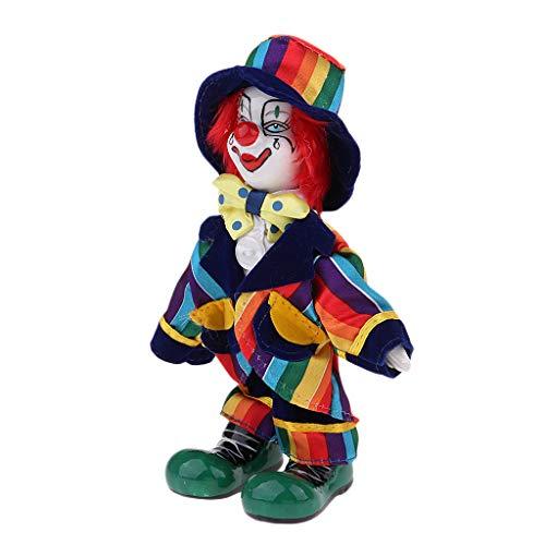 KESOTO Lustige Stehende Porzellan Puppe mit Clown Kostüm, Ornament für Halloween Haus Tisch Dekoration - # 6