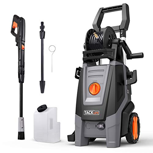 Tacklife Hochdruckreiniger,2000W,160 Bar max. Druck, 450l/h Fördermenge, mit 2x Strahlrohr, 5M Kabel und 6M Hochdruckschlauch für Auto, Garten und Fahrrad