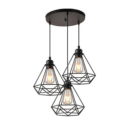 STOEX Lustre Suspension Industrielle Géométrie Nid Style, Lampe de Plafond Vintage Luminaire Abat-Jour, Noir