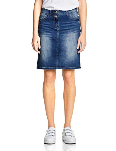Cecil Damen 360364 Feli Galon Rock, Authentic Used wash mid Blue, XX-Large (Herstellergröße:36) -