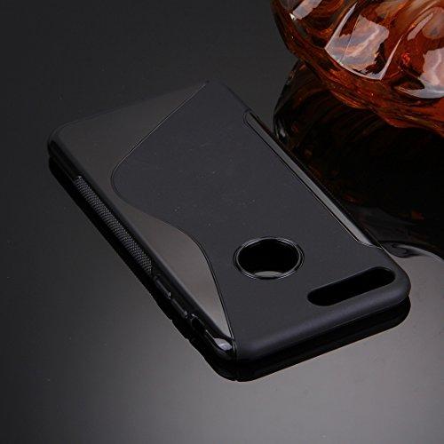 Hülle für iPhone 7 plus , Schutzhülle Für iPhone 7 Plus S-Shaped Soft TPU Schutzhülle ,hülle für iPhone 7 plus , case for iphone 7 plus ( Color : Black ) Black