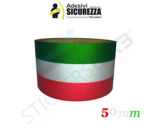 stickerslab Verdunkelungsfolie–Stirnband Klebeleiste Tricolore Flagge Italien Reflektierende Streifen 25/50mm 5cm, Lunghezza - 1 metro
