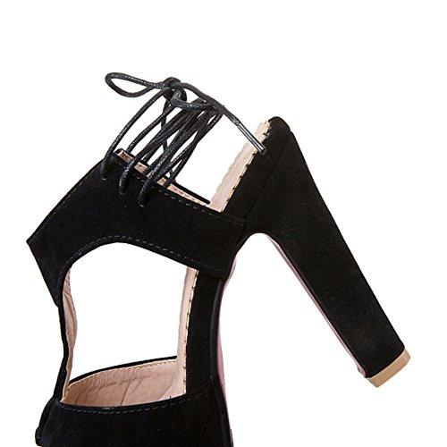 YE Damen Peep Toe T-spangen plateau sandalen mit Schnürung Wildleder Blockabsatz Schuhe Schwarz