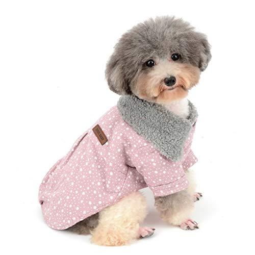 Zunea Winterjacke für Kleine Hunde, mit Fleece-Futter, Schneeflocke, warm, Dicke Baumwolle, Sweatshirt für Hunde und Katzen