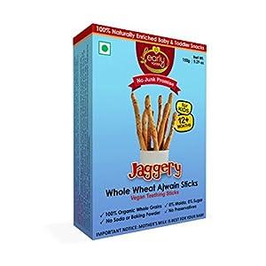 Early Foods Organic Whole Wheat Ajwain Jaggery Teething Sticks – Kids Snack 150gms
