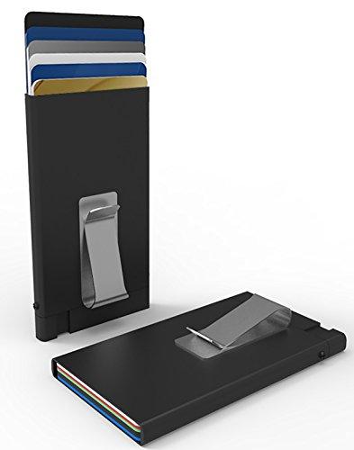SMARTLET Kreditkartenetui mit Geldklammer und RFID Schutz, Kartenhalter aus eloxiertem Aluminium, Hebemechanismus, Damen & Herren, Flache Ausführung