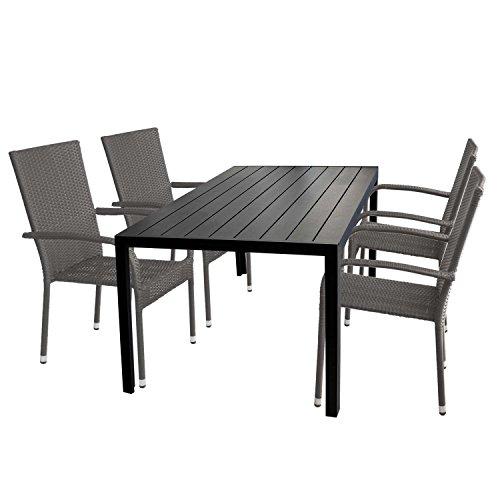 Multistore 2002 5tlg. Gartengarnitur Gartentisch Tischplatte Polywood 150x90cm + 4X stapelbare Rattansessel Sitzgruppe Aluminium Stapelstuhl Polyrattan Gartenstuhl Terrassenmöbel Sitzgarnitur