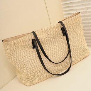 GUMO-Spiaggia sacchetti, sacchi di paglia, tessuti sacchi, borse a tracolla, vacanze borsa borsa a mano,bianco White