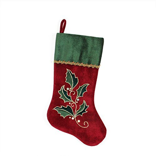 20.5 Red and Green Holly Embroidered Velvet Christmas Stocking with Metallic Trim by Northlight Holly Trim