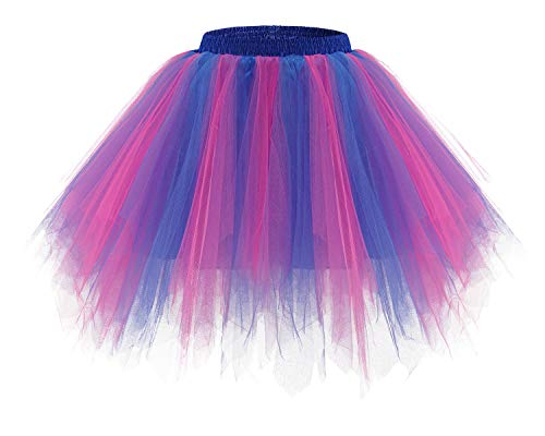 bridesmay Tutu Damenrock Tüllrock 50er Kurz Ballet Tanzkleid Unterkleid Cosplay Crinoline Petticoat für Rockabilly Kleid Royal Blue-Fuchsia XL