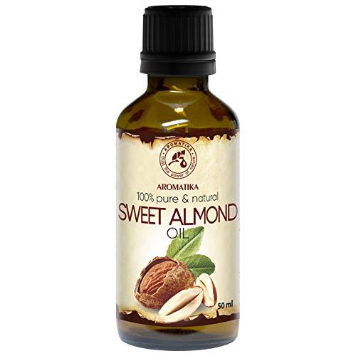 Mandelöl Kaltgepresst 50ml - 100% Reines & Natives Mandel Öl - Intensive Pflege für Gesicht - Körper - Haare - Gut mit Ätherischem Öl - für Massage - Beauty - Körperpflege - Süßes Mandelöl -