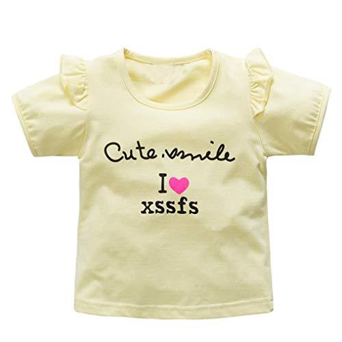 Ogquaton Kleine Mädchen niedlichen Buchstaben Cartoon T-Shirts Kleinkind Kinder Kleidung Baby Mädchen Kurzarm Tops Tees Bluse langlebig und praktisch