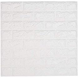 """Leisu 3D Brique Stickers Muraux Imperméable Papier Peint 3D Autocollant PE Mousse DIY Auto-Adhésif blanc Wall Stickers pour chambre salle de bain Salon Home Office 60 * 60 cm(23.6""""*23.6"""") (1 pack)"""