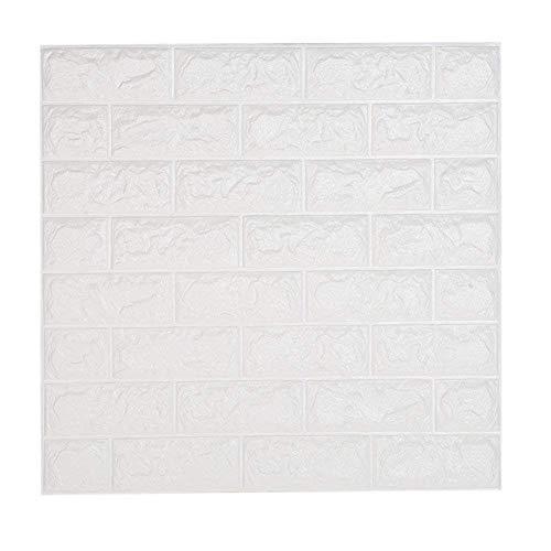 Leisu Papel Pintado Ladrillo Blanco 3D Adhesivo Pegatinas