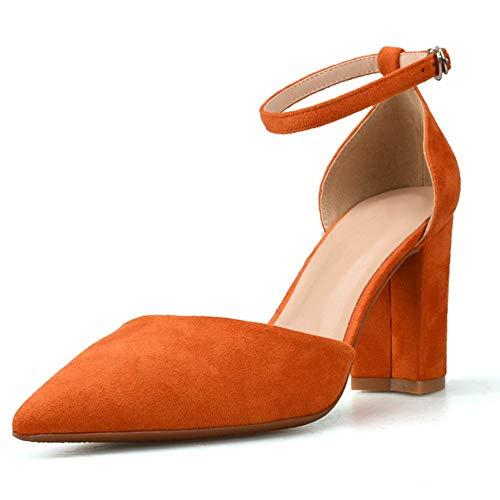 Fenghz-Shoes Schuhe Mode Knöchelriemen Sandalen für Frauen High Block Heel Spitz Pumps für Damen Faux Wildleder Oberes Kleid Sandale (Color : Orange, Size : 42 EU) -