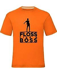 Floss Like A Boss T-Shirt Boys Girls Kids Adults Tee Top, 9-11 Years, Orange