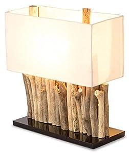 levandeo Lampe Tischlampe/Tischleuchte aus recyceltem Holz - Holzlampe Treibholz 16x35cm 40cm hoch - Jede Lampe ein Unikat