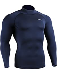 emFraa Homme Femme Running Compression Navy Base layer Mock Neck Shirt Long sleeve S~2XL
