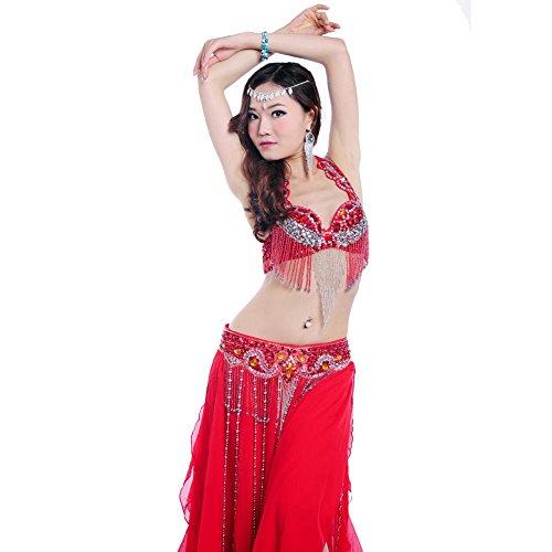 Byjia Dance costumes Bauch Tanzen Performance Frau Handmade Diamant BH Rock Quaste Welle Gürtel Modern Trainieren Kostüm Red S