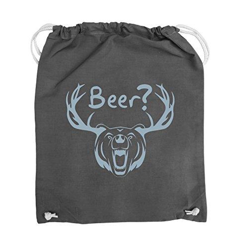 Comedy Bags - Beer? - BÄR GEWEIH - Turnbeutel - 37x46cm - Farbe: Schwarz / Silber Dunkelgrau / Eisblau