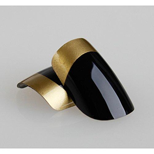 Art bling faux ongles Manucure française Plongé dans l'or moyen Conseils UK