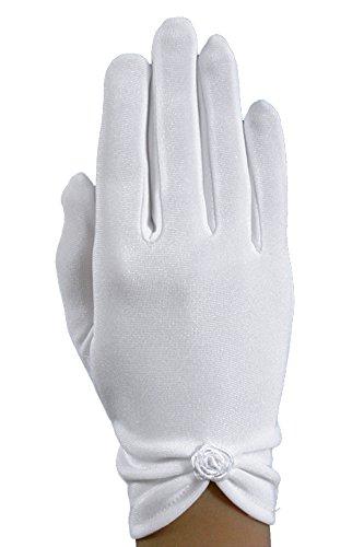 Kurze Schlichte Kommunionhandschuhe mit Fingern Röschen KB-35