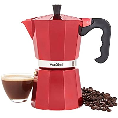 VonShef Espresso Coffee Maker Red 6 Cup Italian-Style Moka Stove Top Macchinetta Includes Replacement Gasket & Filter (300ml) from VonShef