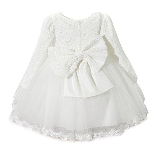 Kinder Mädchen Lace Bow Langarm Prinzessin Kleid für den Herbst Winter Weiß/90cm